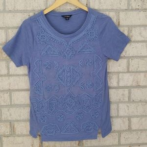 Lucky Brand Embroidered Blue Top - Size Small